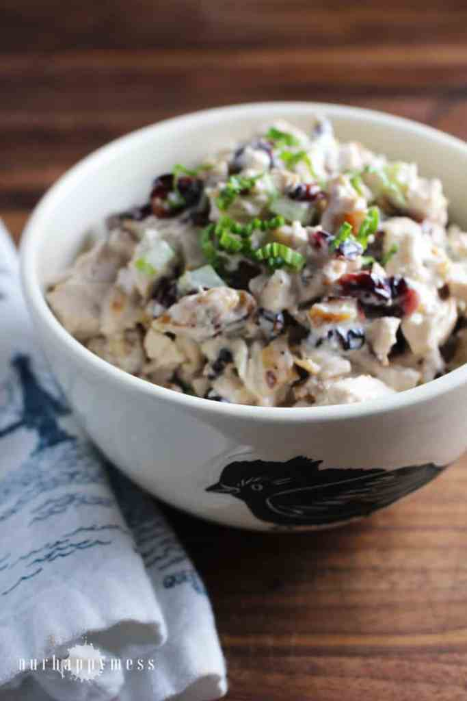 This walnut cranberry chicken salad, with tender chicken breast, crunch walnuts and tangy cranberries is great on its own or in a sandwich.