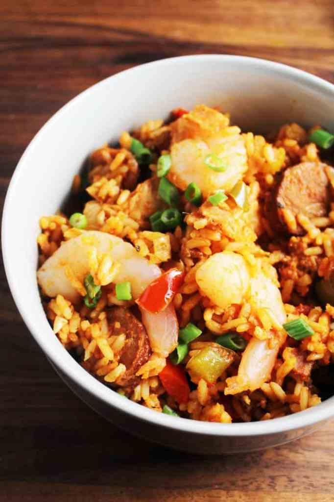 chicken shrimp and sausage jambalaya in a bowl