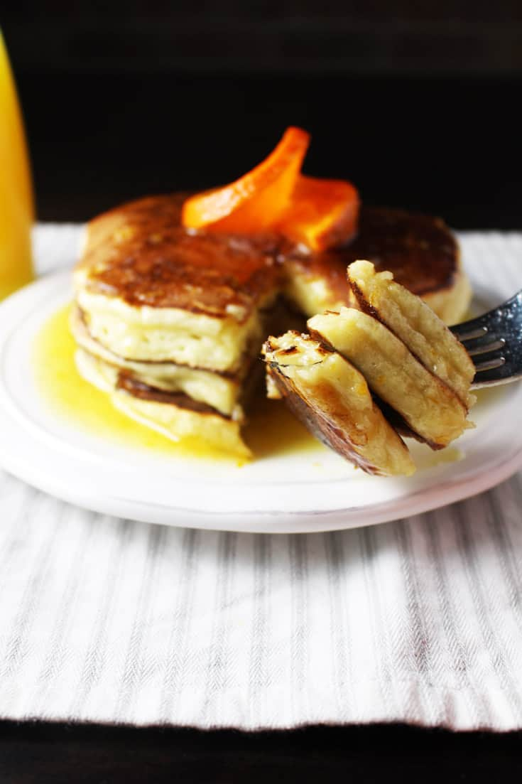Ricotta Pancakes with Creamy Orange Syrup