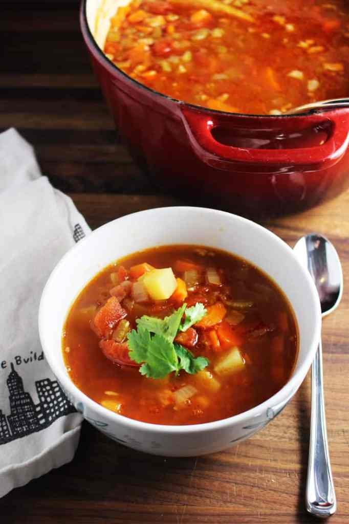 Bowl of winter minestrone soup
