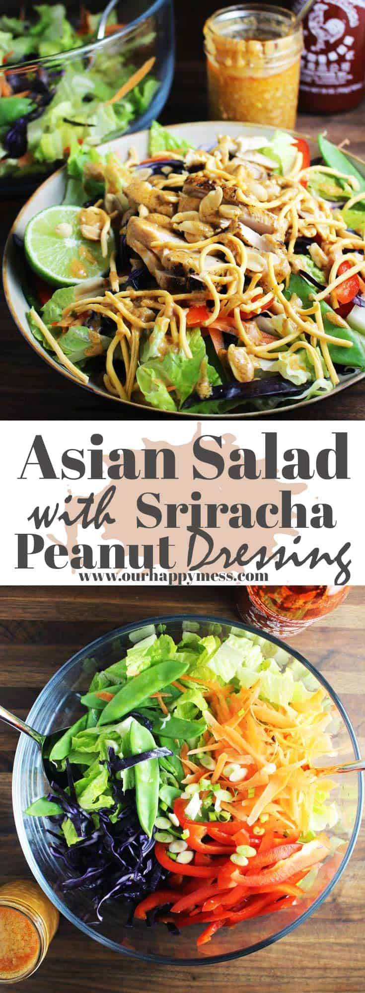 This Asian Chicken salad is full of rainbow-colored, crunchy veggies, and is tossed with a punchy sriracha peanut dressing. It's quick to assemble and makes a wonderful, fresh, and easy weeknight dinner. #easyrecipes #salad #dinnerrecipes #dinner