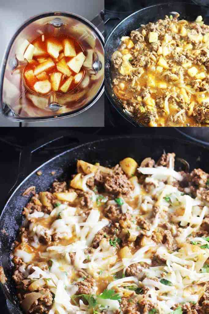 Collage of process shots for making ground beef tacos al pastor style