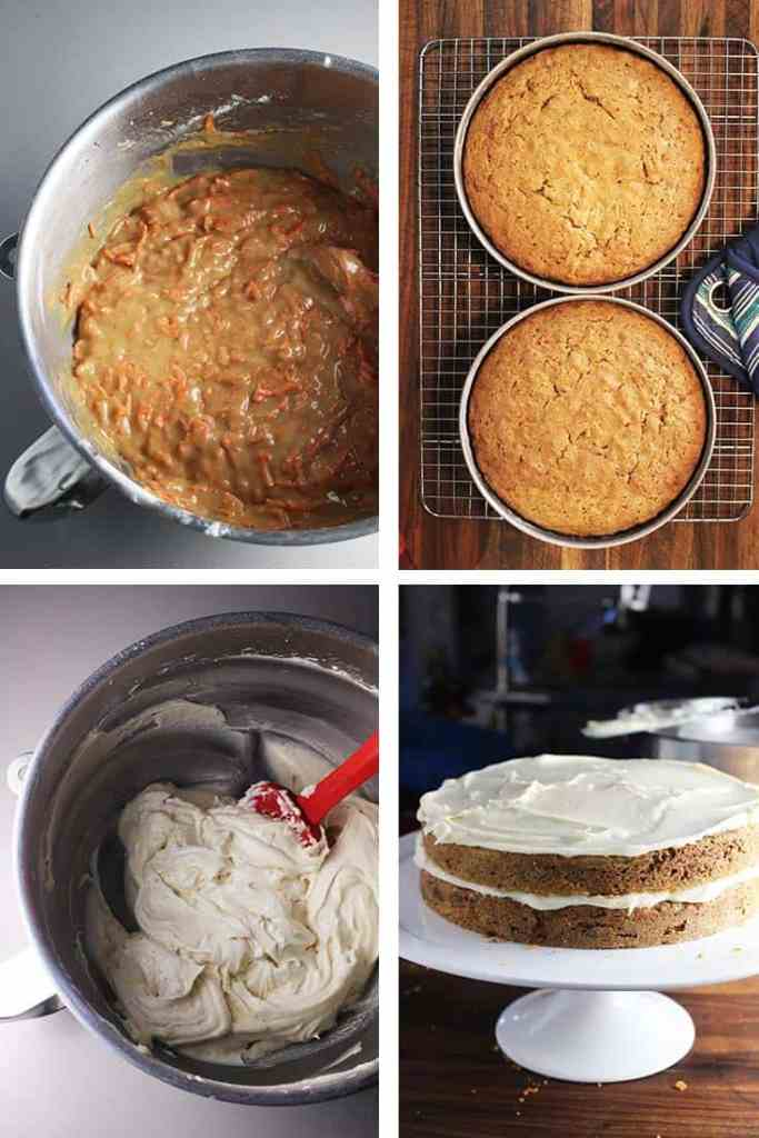 Collage of process shots for making moist carrot cake