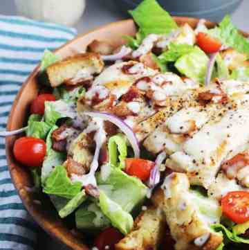 Club sandwich salad with chicken in a bowl