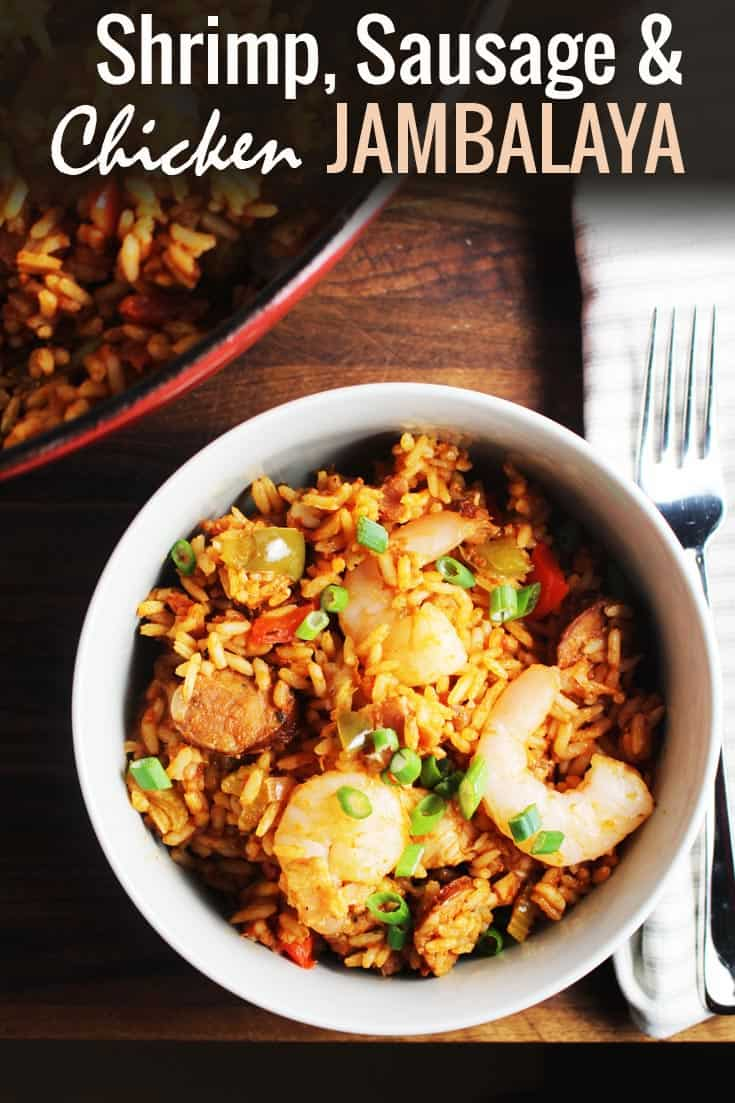Chicken, shrimp and sausage jambalaya is a simple, hearty Cajun dish that is full of authentic Louisiana flavor. It's an easy one pot recipe perfect for celebrating Mardi Gras New Orleans-style, no matter where you are in the world. #fattuesday #neworleans #cajun #onepot