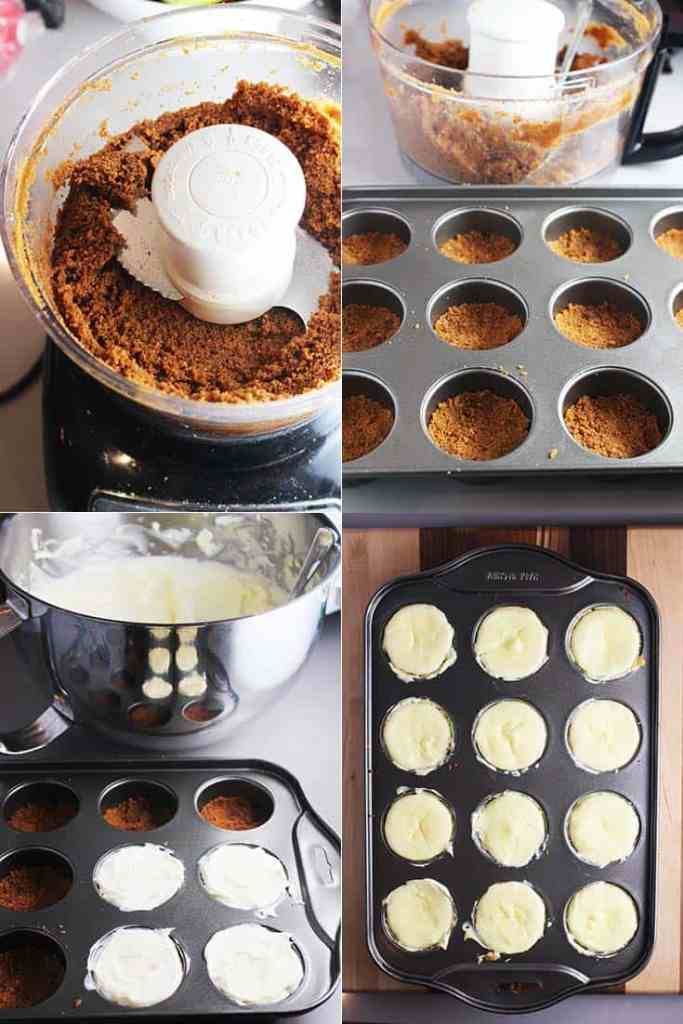 Collage of process shots for making mini cheesecakes with biscoff crust and mango coulis