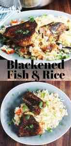 Cajun blackened fish recipe over rice, on a plate