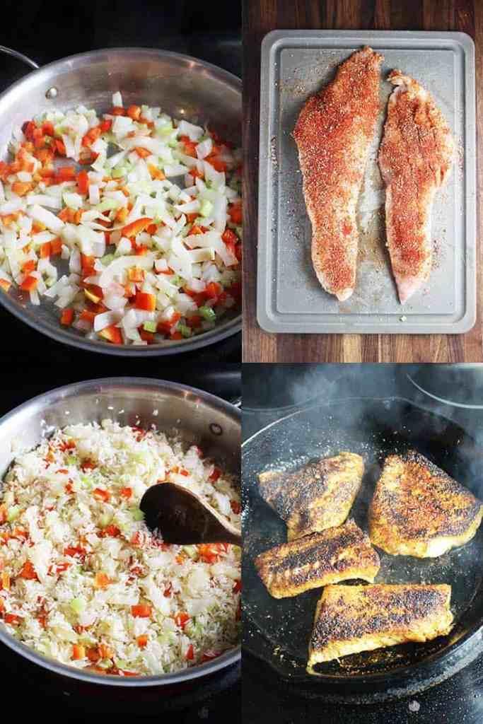 Process shots for Cajun Blackened Fish Recipe