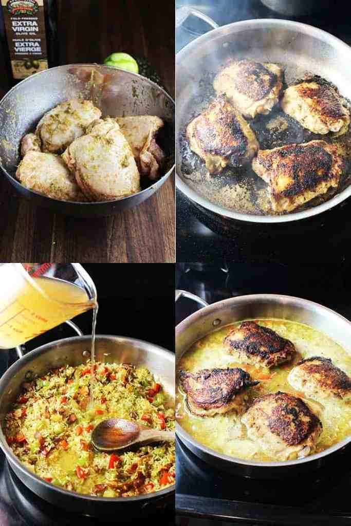 Process shots for making one pot Cuban chicken and rice
