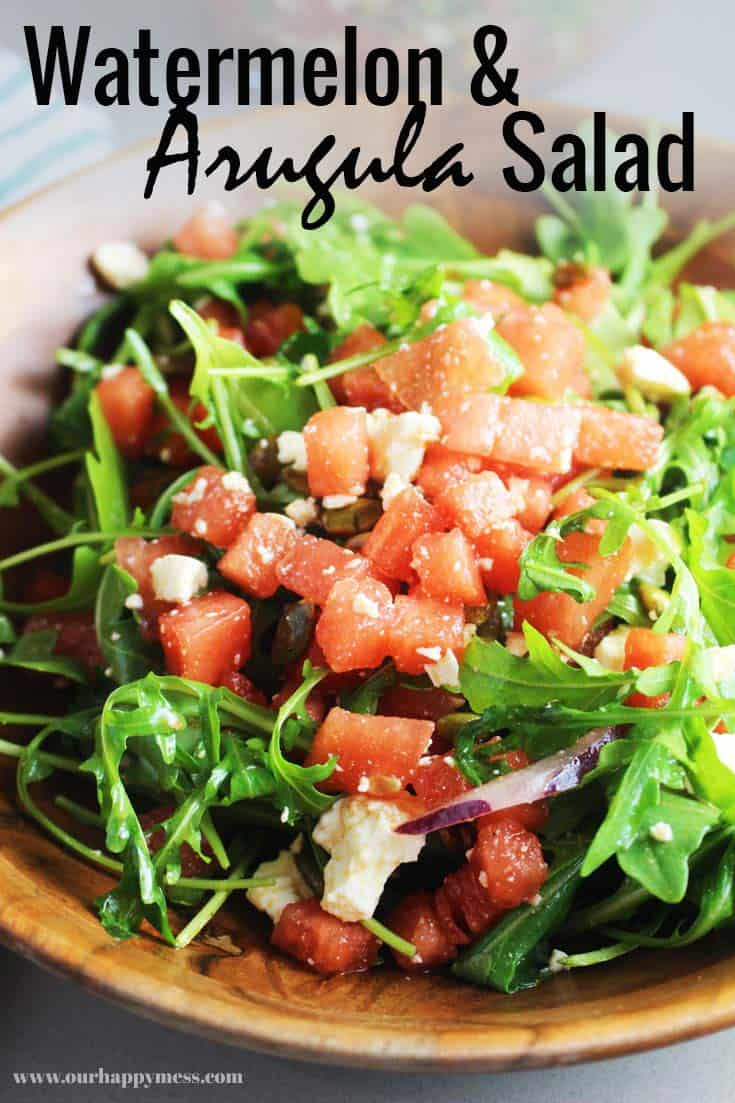This watermelon salad with arugula gets a Mexican makeover with crunchy toasted pepitas, salty queso fresco (or you could make it with feta cheese), fresh cilantro and a tangy lime dressing. Serve with tacos or any grilled meat like chicken, for an easy Mexican summer feast! #salad #summerfood #watermelon #sidedish