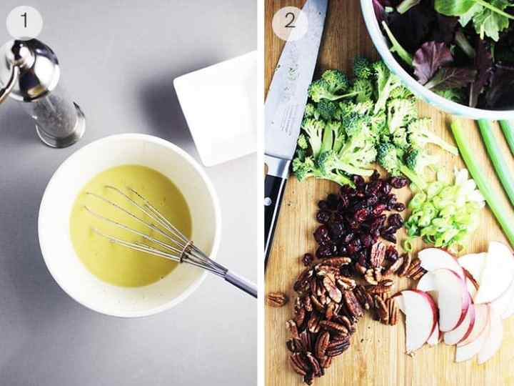 Maple dressing in a bowl with whisk and ingredients for fall salad on a cutting board