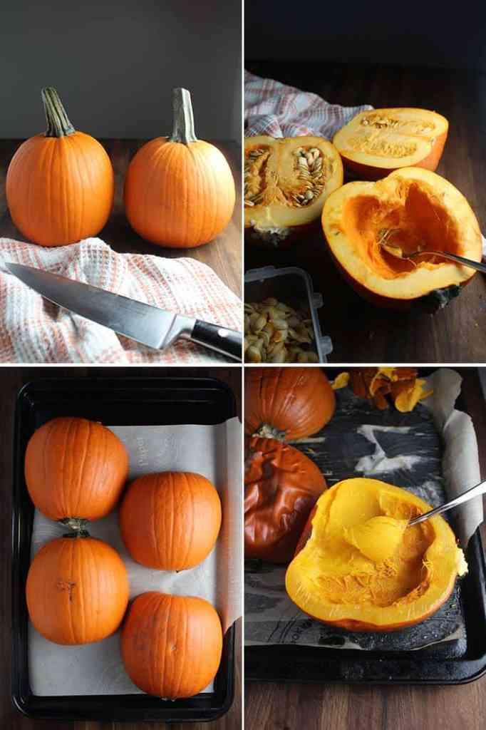 Four process shots for how to roast pumpkins