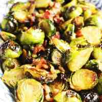 Maple Balsamic Roasted Brussels Sprouts with Bacon