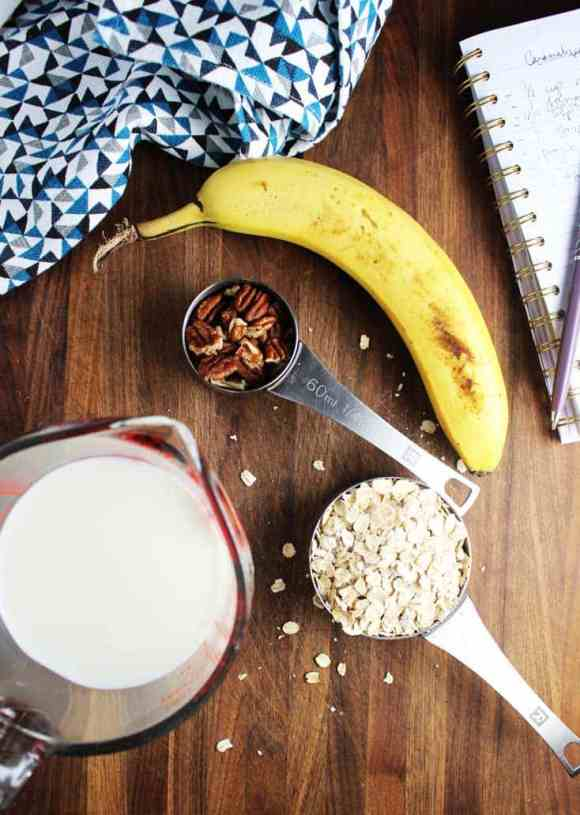 Overhead shot of ingredients to make caramelized banana pecan oatmeal
