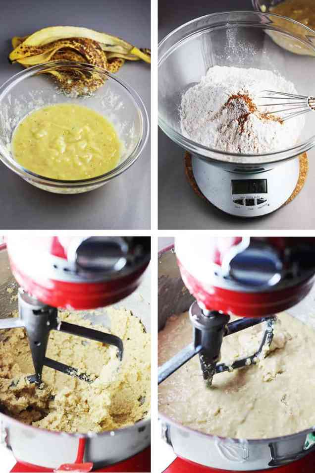 Mashed bananas in a bowl, flour and other dry ingredients in a bowl on a scale, butter and sugar being creamed in a stand mixer, completed banana cake bather in a stand mixer
