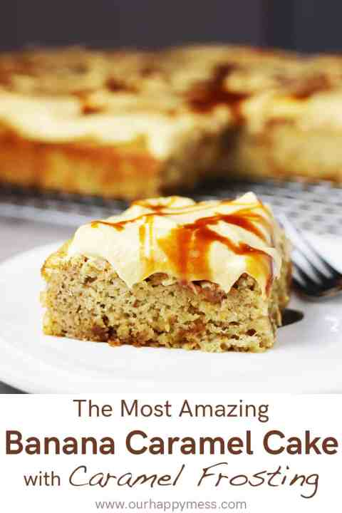 a piece of banana caramel cake with caramel frosting on a white plate