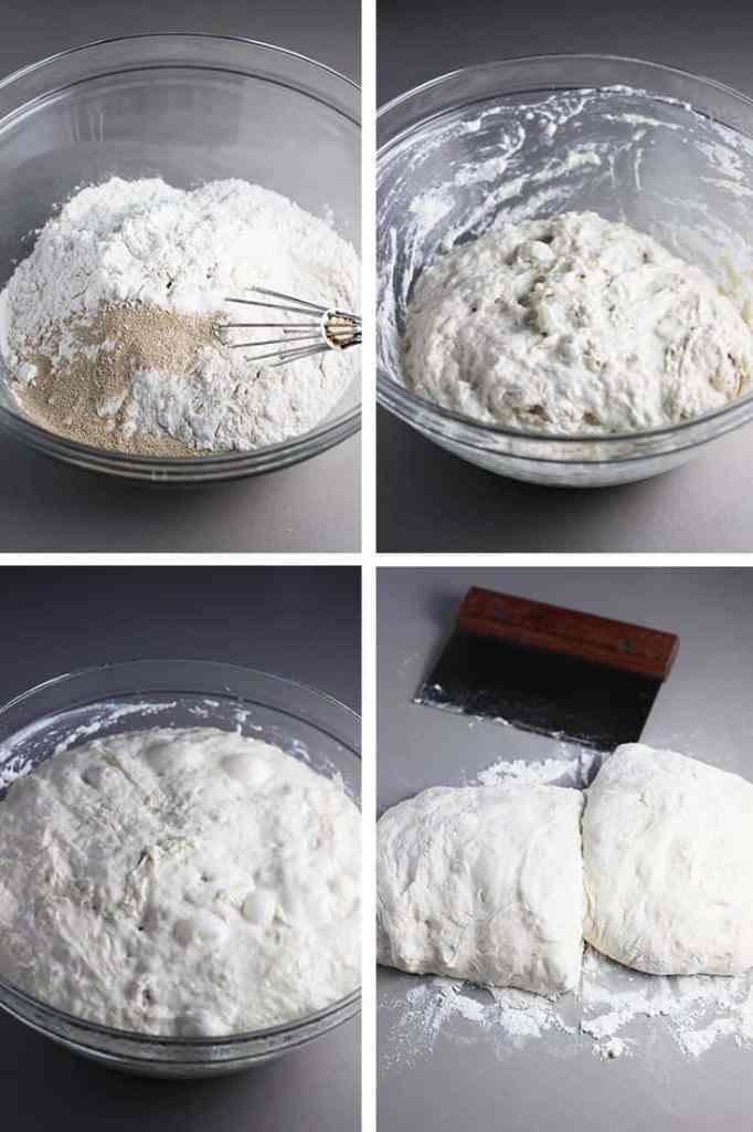 Process shots for making dough for homemade focaccia bread
