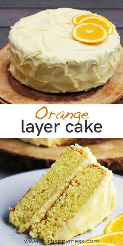 An unsliced orange layer cake on a wooden board, and a slice of the same cake on a plate