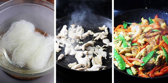 Rice vermicelli noodles in a bowl of hot water, sliced chicken breast cooking in a pan, and singapore noodles cooking in a pan