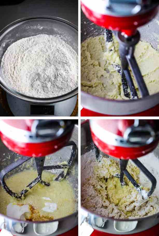 Four images of coffee cake batter in various stages in a stand mixer
