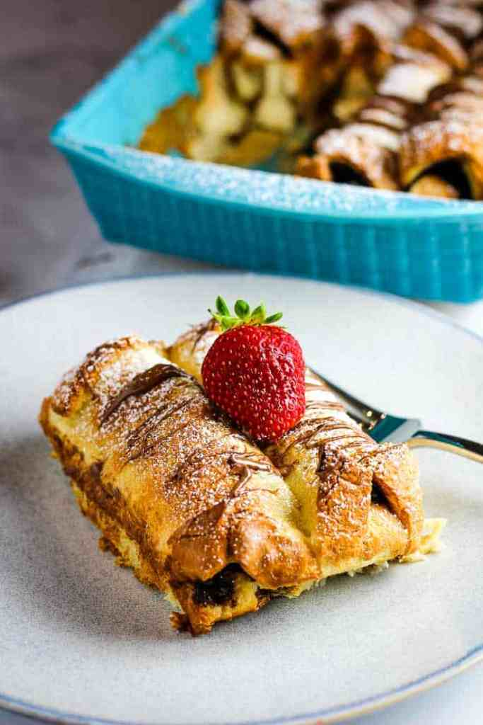 Serving of Nutella French toast casserole on a plate