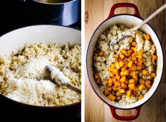 Parmesan being stirred into risotto and roasted butternut squash cubes being added to a dutch oven full of risotto