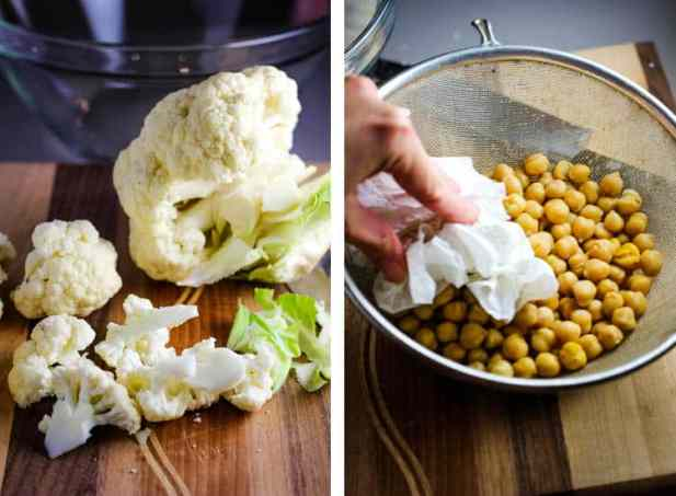 Cauliflower being separated into florets and chickpeas being drained and dried