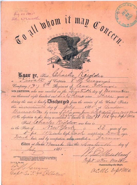 Charles Kidder's discharge certificate