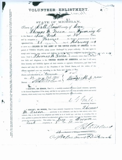 Thomas Green's enlistment