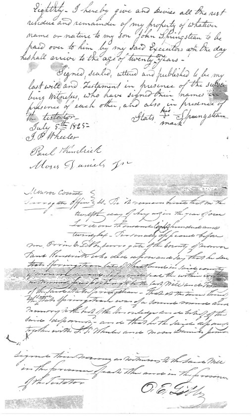 Staats Springsteen's will, page 2