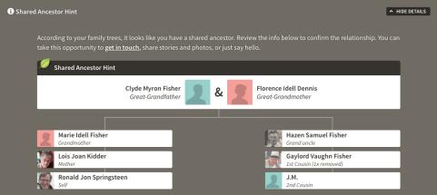 AncestryDNA shared ancestor hint