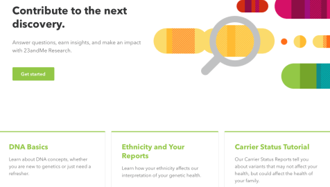 New 23andMe home page