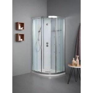 Cabina doccia semicircolare 90x90 porte scorrevoli White SPAce Idro