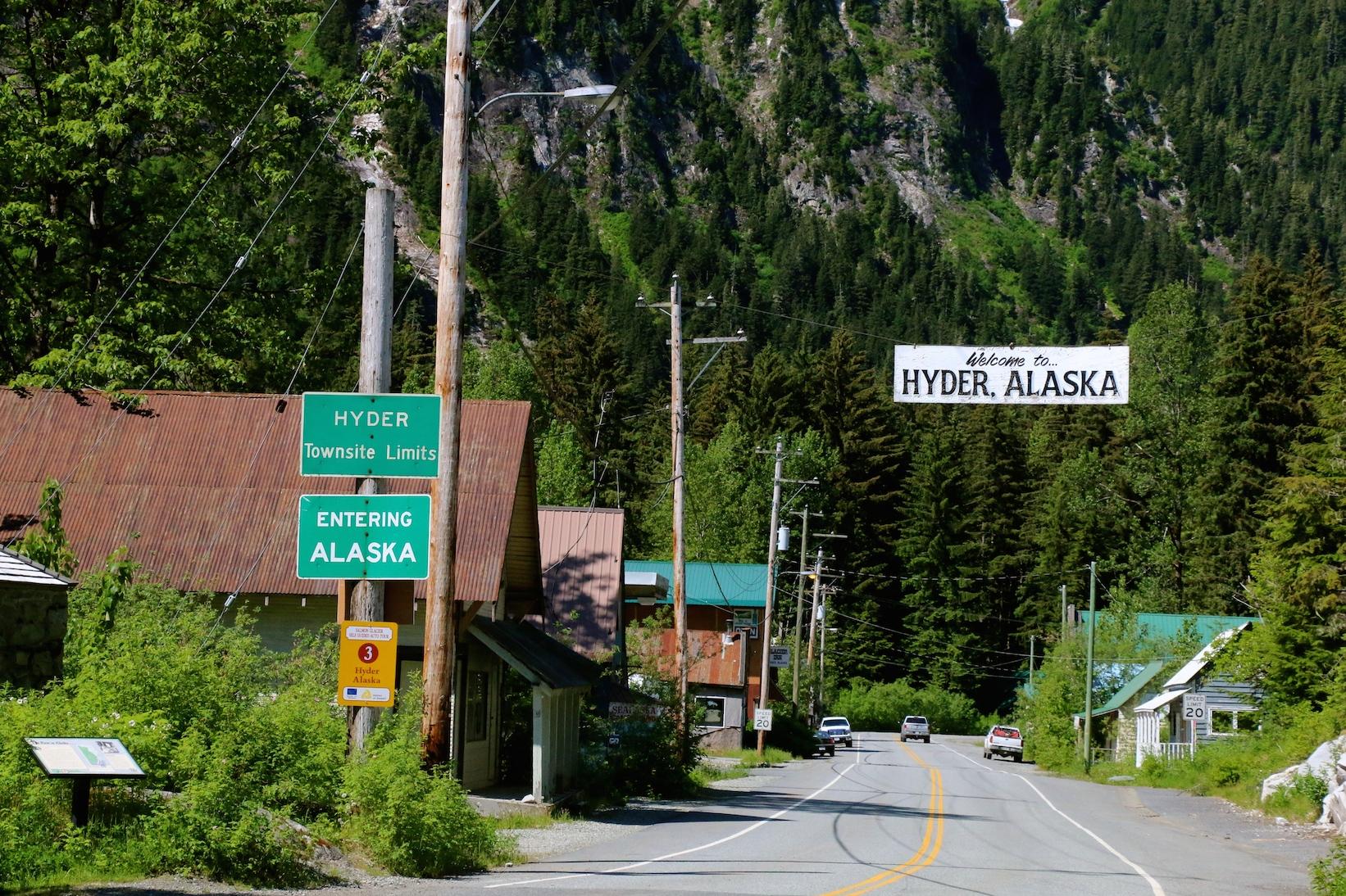 Entering Hyder AK Meziadin Lake to Stewart