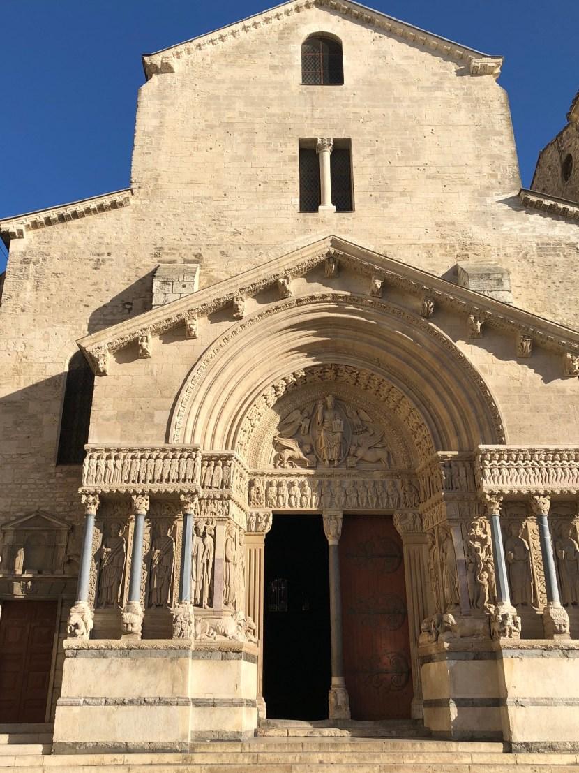 St. Trophime church's beautiful Romaneque entrance