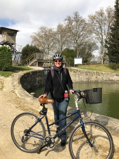 Carcassonne-April-2019-Geri-biking-canal-du-midi-Vibeke