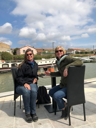 Carcassonne-April-2019-Geri-lunch-after-biking-canal-du-midi