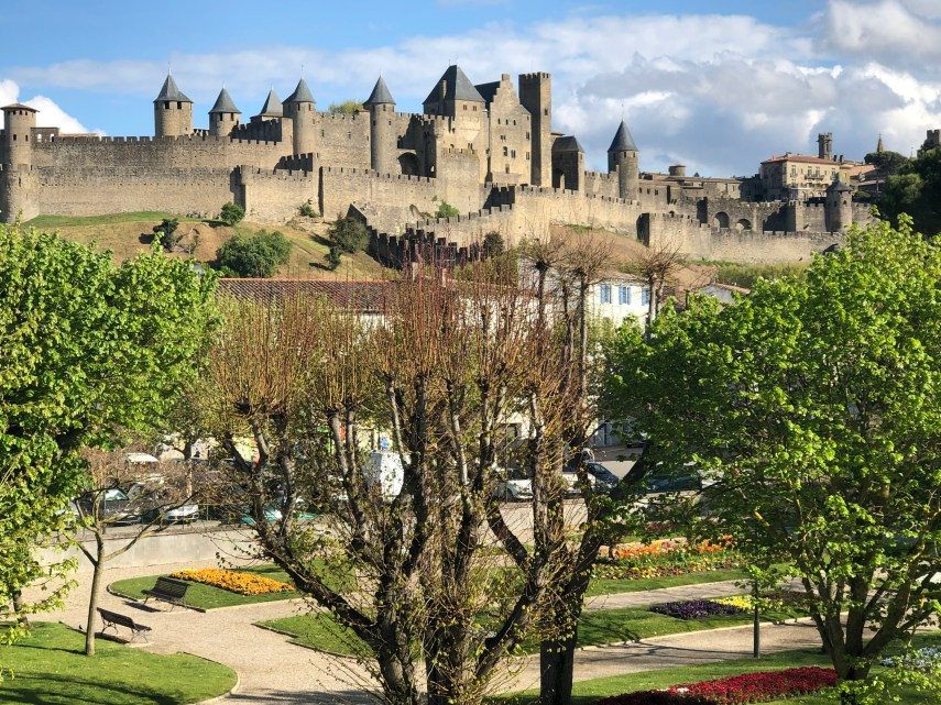 View of Carcassonne from Pont Vieux Carcassonne April 2019