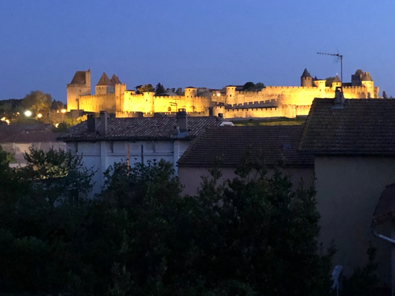 View of Carcassonne Medieval Walled City at night from our home Coming out of Confinement in Carcassonne