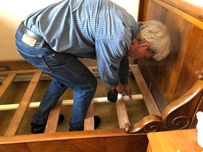 Jeff Assembling a 150-Year-Old Bed Staying Home in Carcasonne