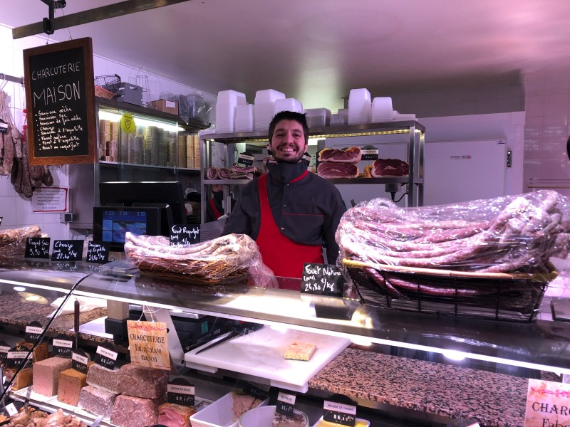 Butcher Philippe Cathala at his shop in Les Halles Staying Home in Carcassonne