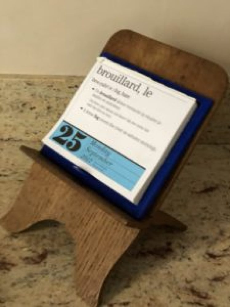 Little Wooden Easel With French Calendar Staying Home In Carcassonne