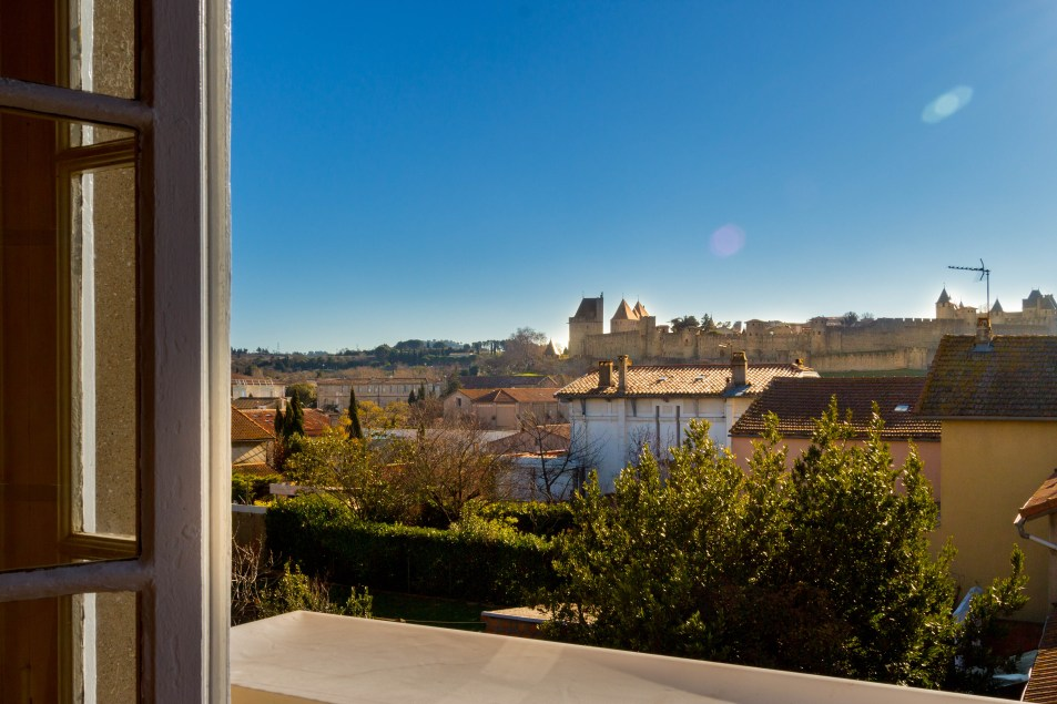 View of medieval walled city from apartments for rent in Carcassonne