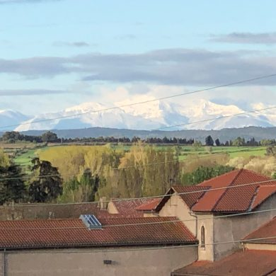 View of the Pyrenees from apartments for rent in Carcassonne