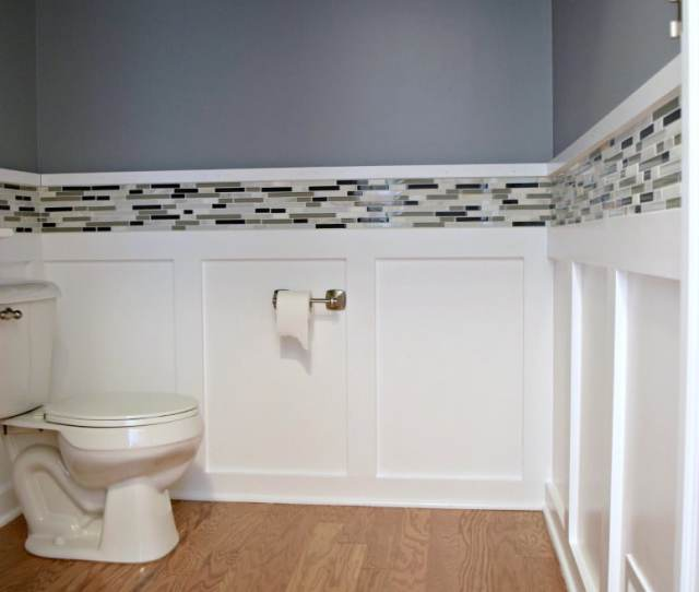 Here Is How We Easily Added Accent Mosaic Tile Around Our Powder Room It Made