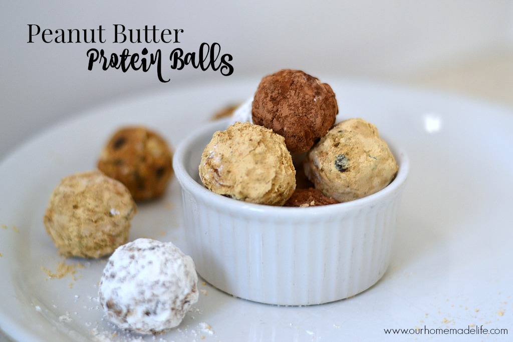 Peanut butter protein balls title