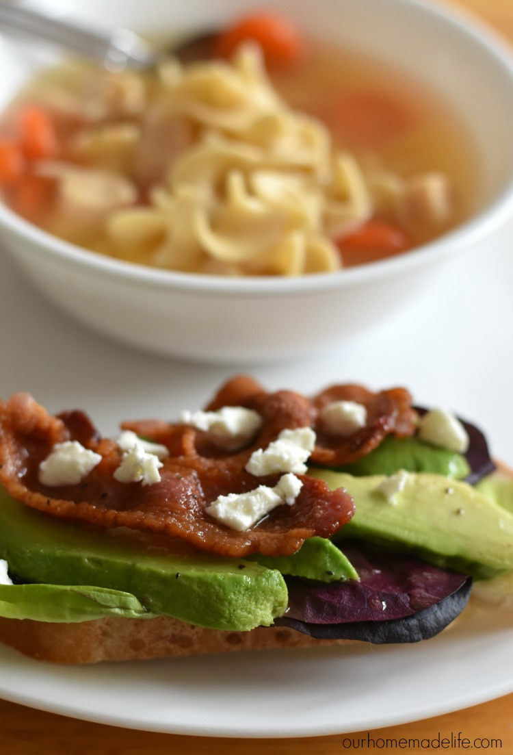 open-faced-avocado-blt-sandwich-with-progresso-light-chicken-noodle-soup