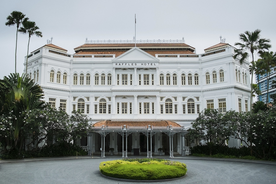 The frontage of Raffles Hotel Singapore