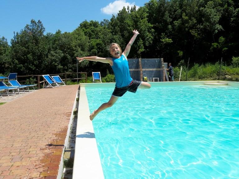 Heat busting pool at agriturismo Anitco Borgo Poggiarello
