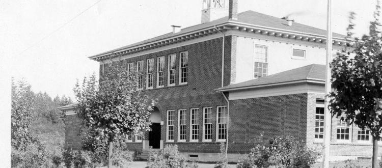 black and white historical photo of building